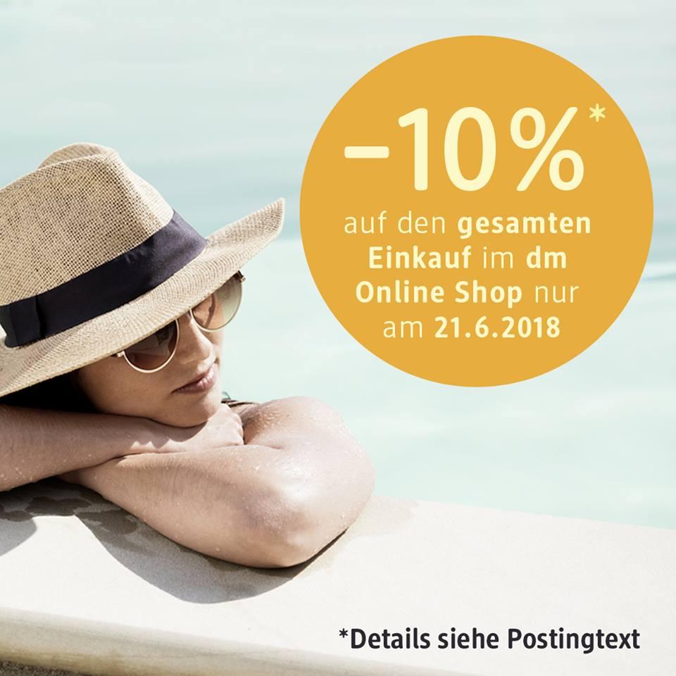 www.meinDM.at / -10% Rabatt au den gesamten Einkauf am 21.06.2018 im Online-Shop