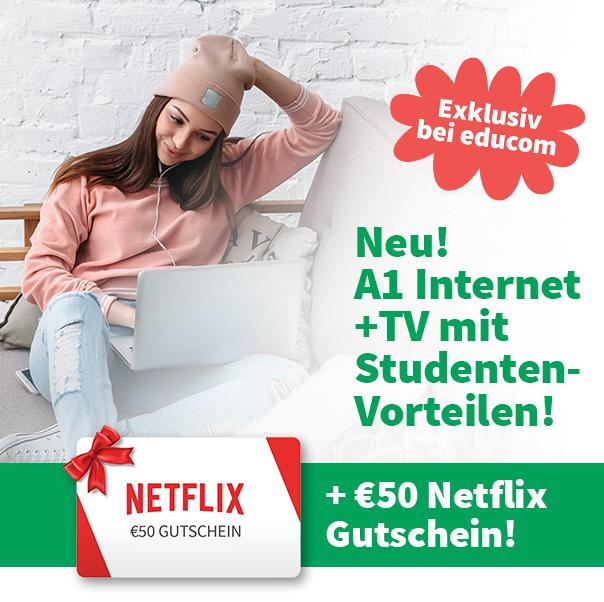Educom: unlimitiertes Internet + 150 TV Sender + 50 € Netflix Gutschein