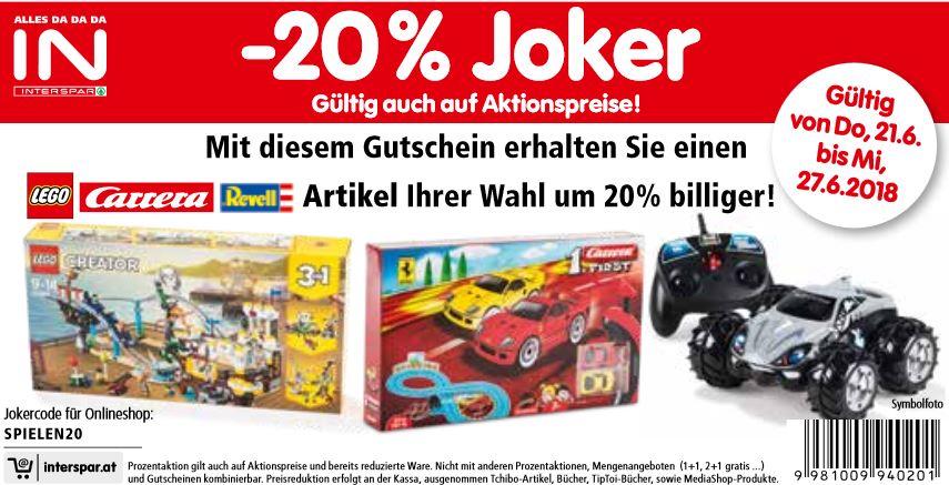 [Interspar] -20% auf einen Spielzeugartikel von Lego, Carrera oder Revell eurer Wahl online und offline mit Gutschein