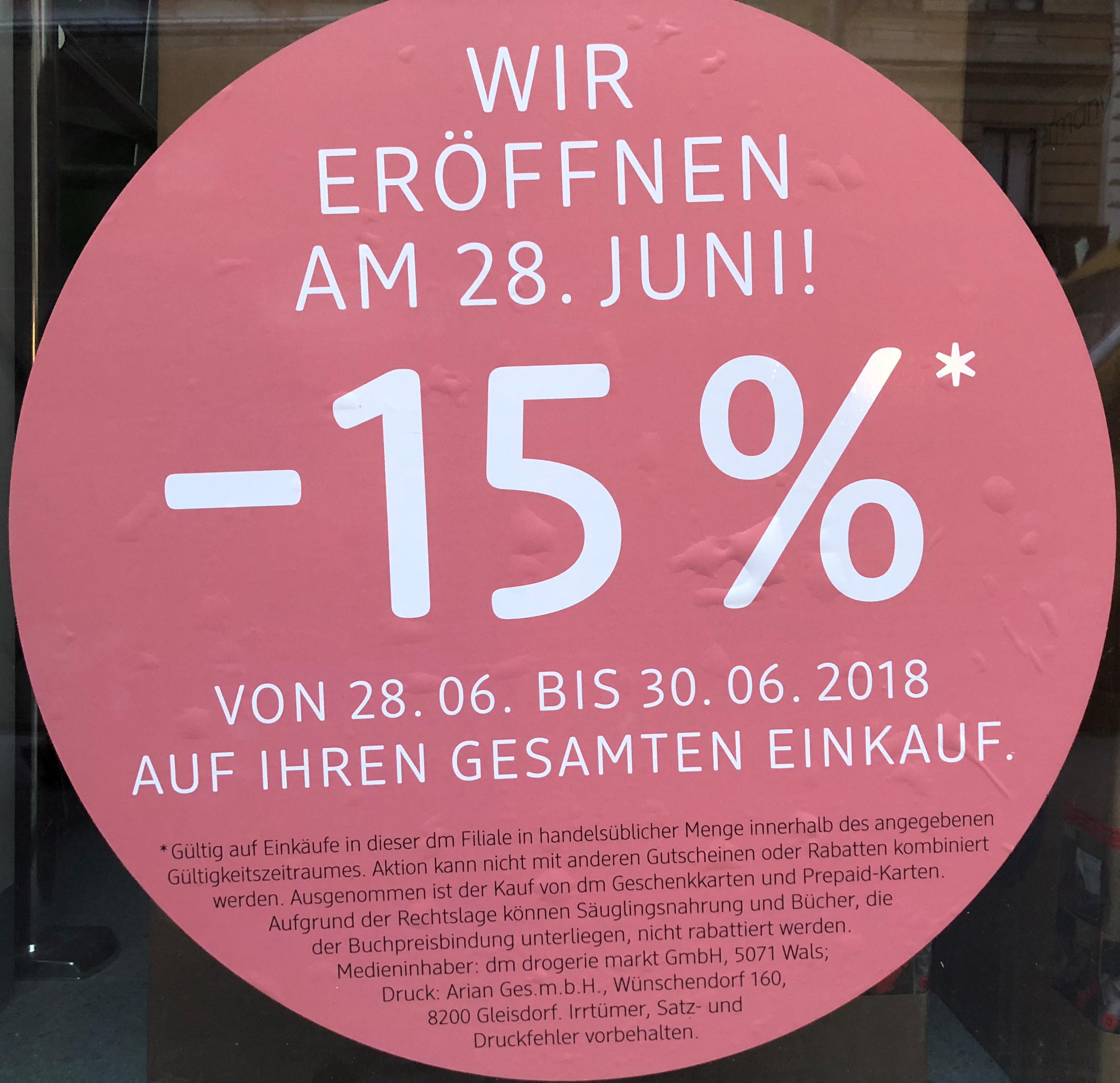 [LOKAL 1070] DM Neueröffnung -15% auf den gesamten Einkauf (28.-30.6.) / Lerchenfelder Straße 37