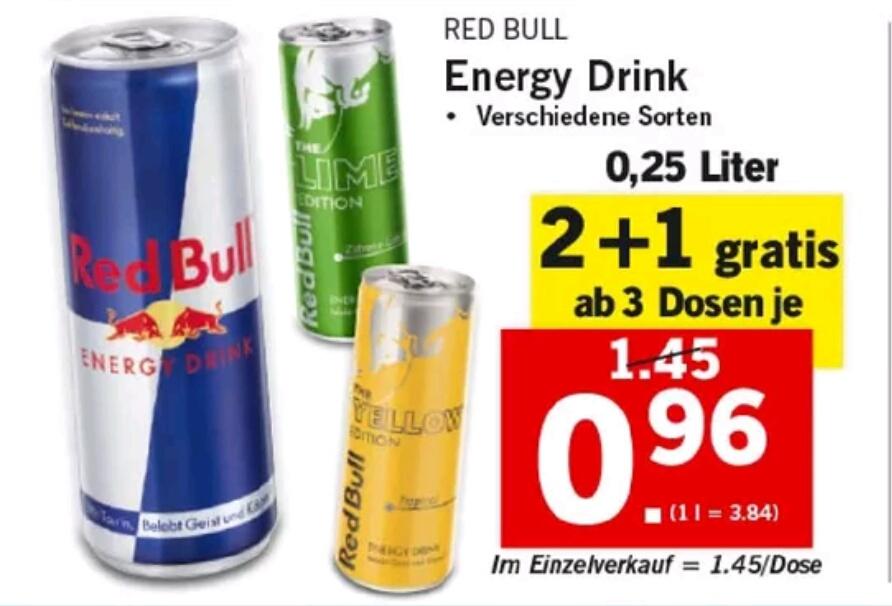 [Lidl] Red Bull diverse Sorten ab 3 Stück um 0,96€ (28.06.-30.06.)