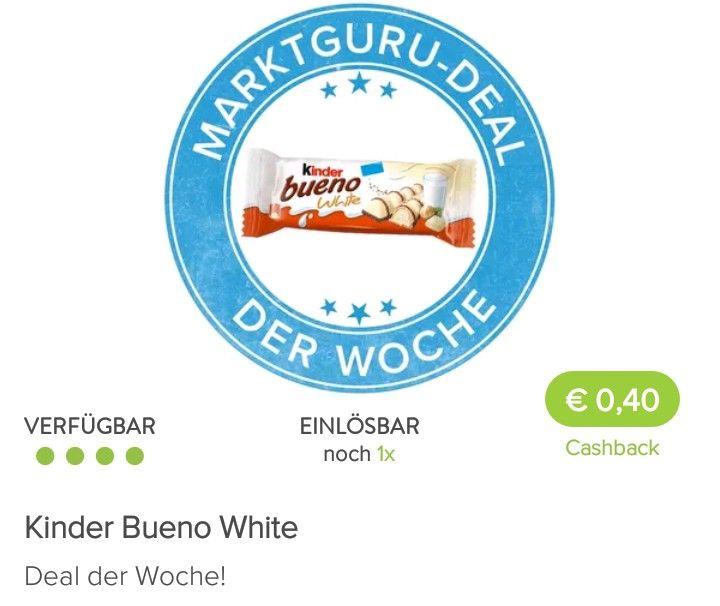 Kinder Bueno White €0,27 Marktguru+25%Kleber Billa