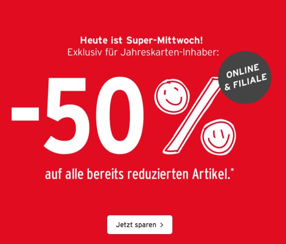 Ernsting's family: zusätzlich 50% Rabatt auf reduzierte Ware - nur heute gültig