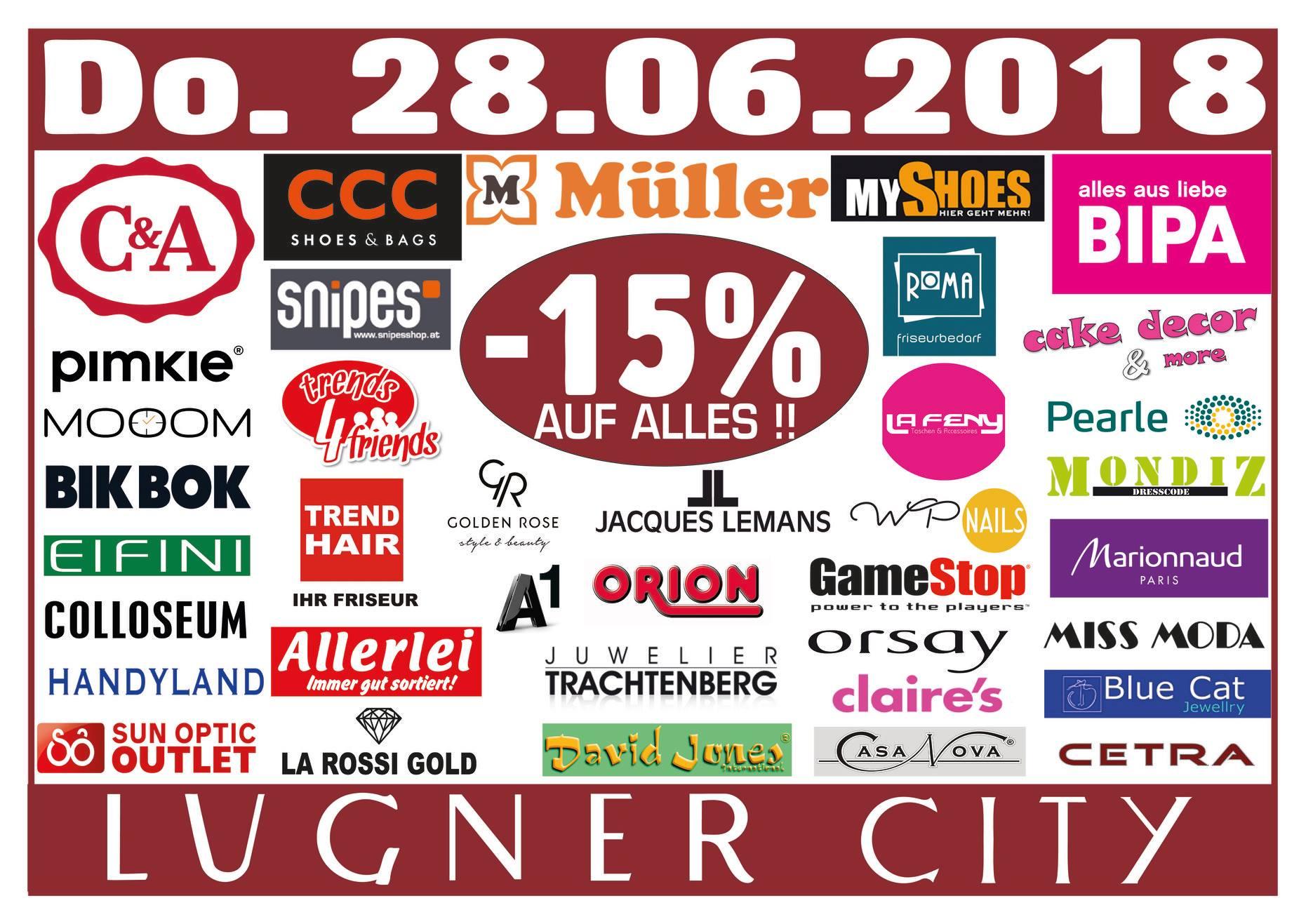 Lugner City: 15% Rabatt in vielen Shops - nur am 28. Juni