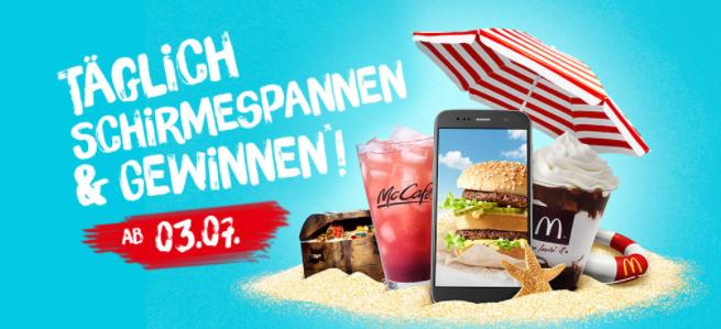 McDonalds Schirme-Spannen - viele GRATIS Produkte - bis 31.8.2018