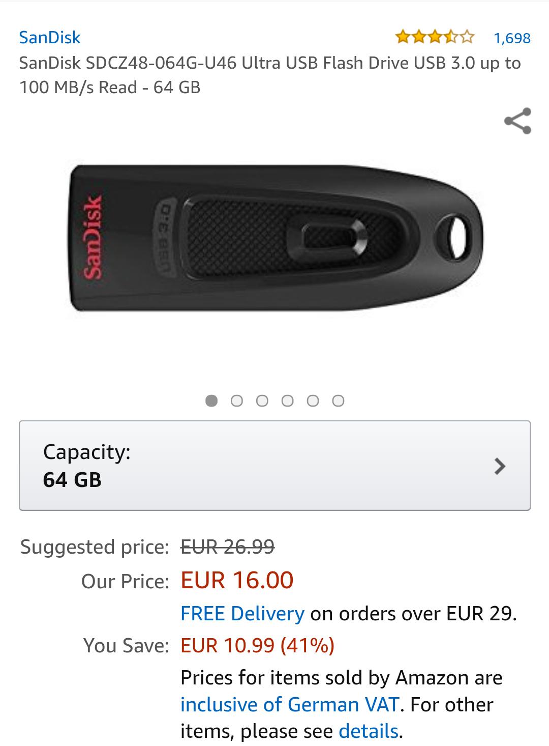 SanDisk USB Stick 64 GB um 16€