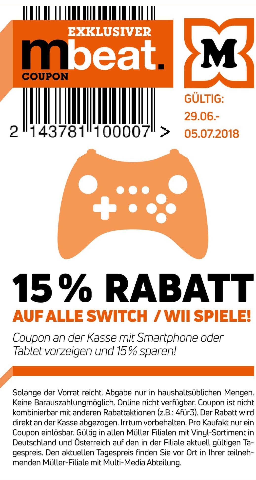 [Müller] -15% auf alle Nintendo Switch- und Wii Spiele
