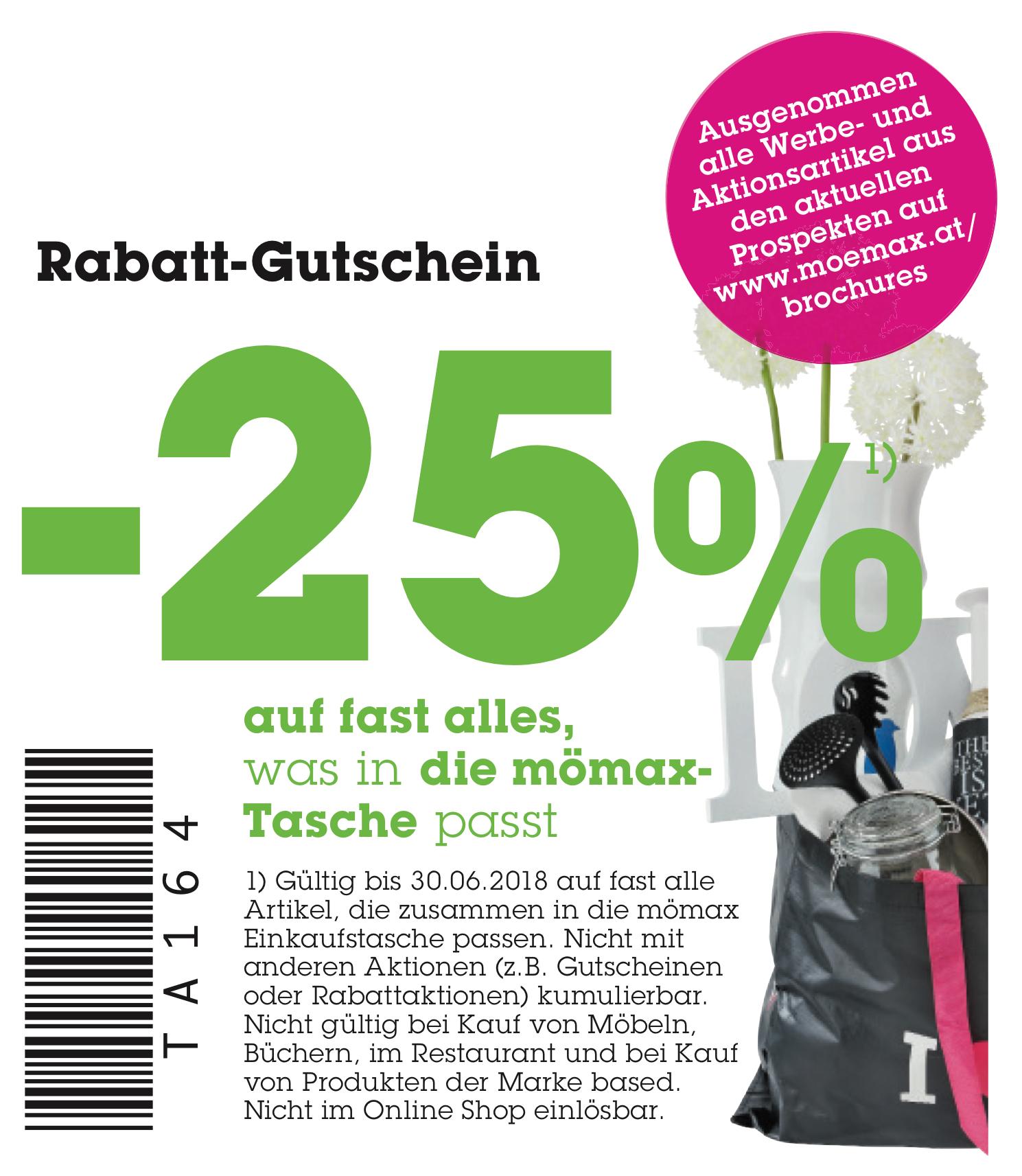 Mömax: 25% Rabatt auf (fast) Alles, was in die Shopping-Tasche passt