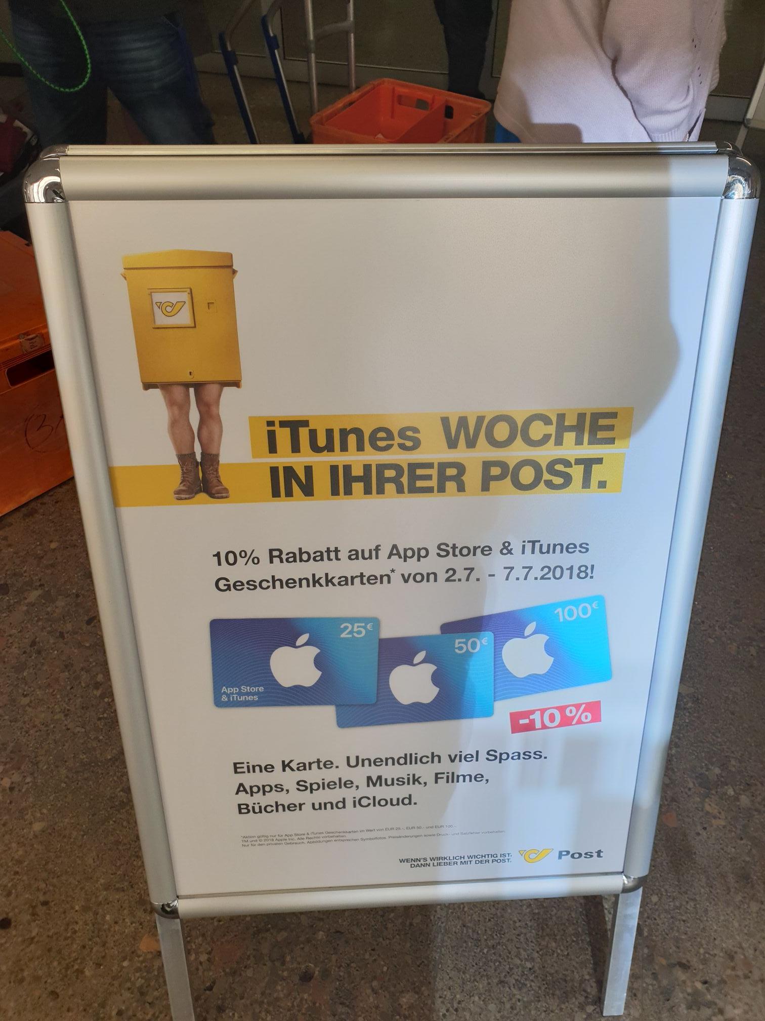 -10% auf iTunes App Store Guthaben Karten in den Postfilialen