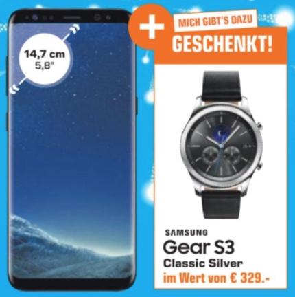 Samsung Galaxy S8 G950F schwarz + Gear S3 Classic silber für 477€ - Nur Saturn Wien Donauzentrum / Gerngross