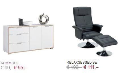 XXXLutz Online Shop -> Kommode um € 55,- und Relaxsessel-Set um nur € 111,-