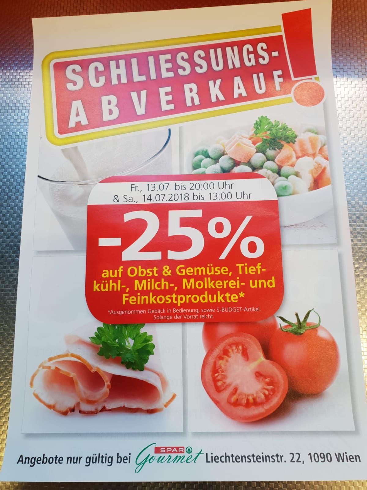 (Lokal)Ab Freitag 13.07 Spar Liechtensteinstraße (1090 Wien) Schließungsabverkauf, 25% Auf Frischeabteilungen und Tiefkühl.