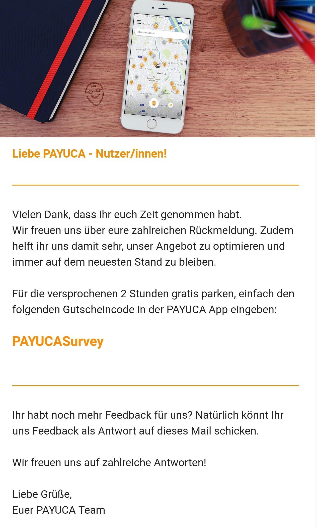 Payuca - 2h gratis parken in Wien