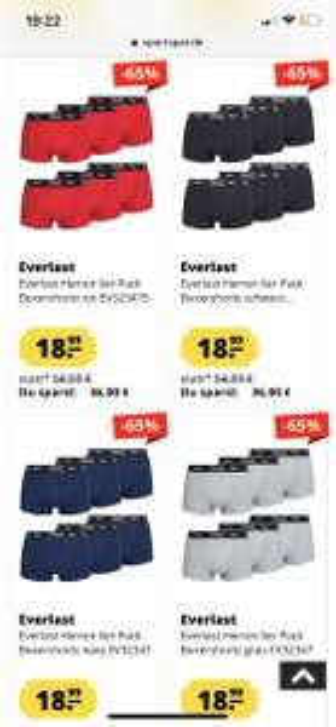 EVERLAST 6er Pack Unterhosen um 18,99€ + 6€ Versand statt um 54,99€