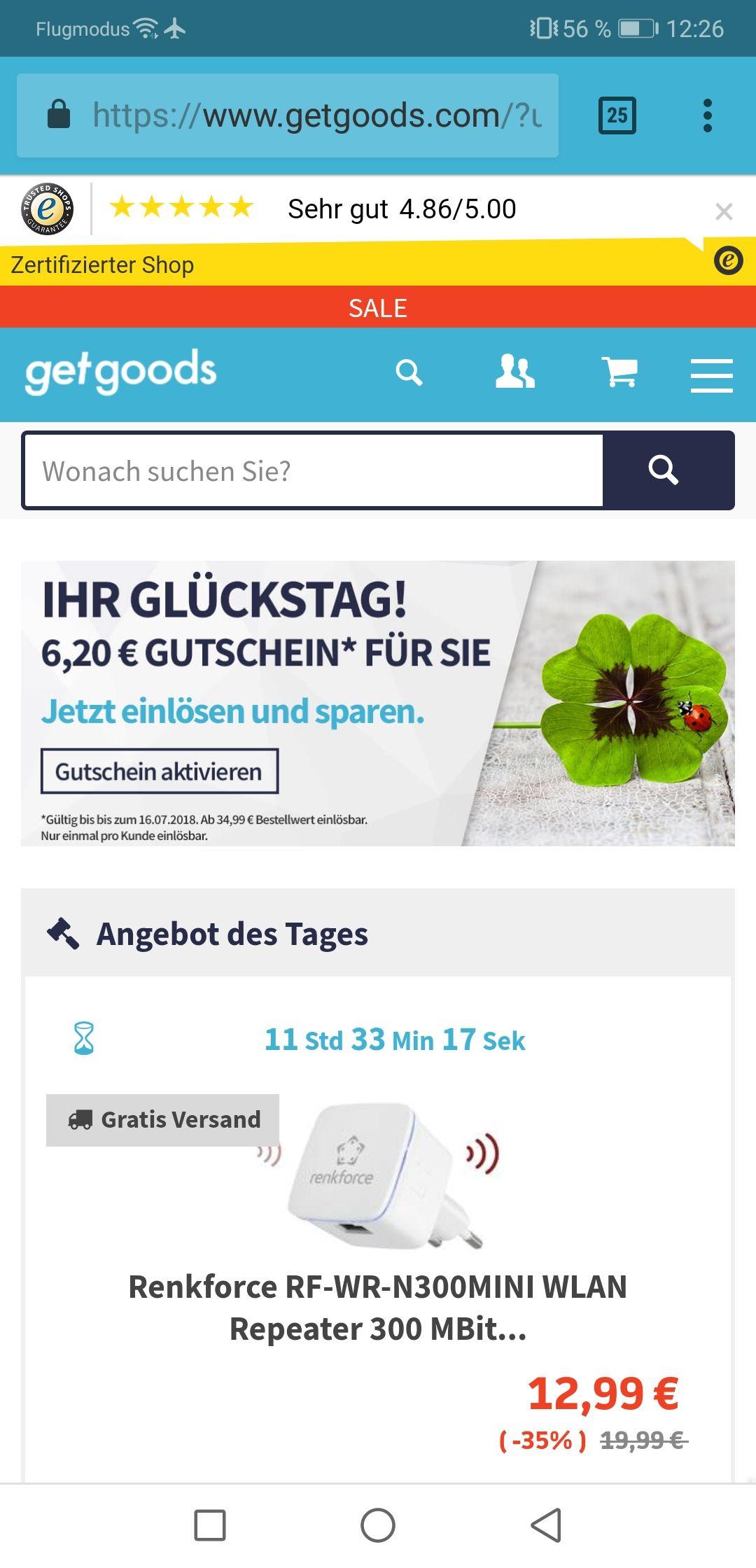 6.2€ Getgoods Gutschein ab 35€ Einkauf