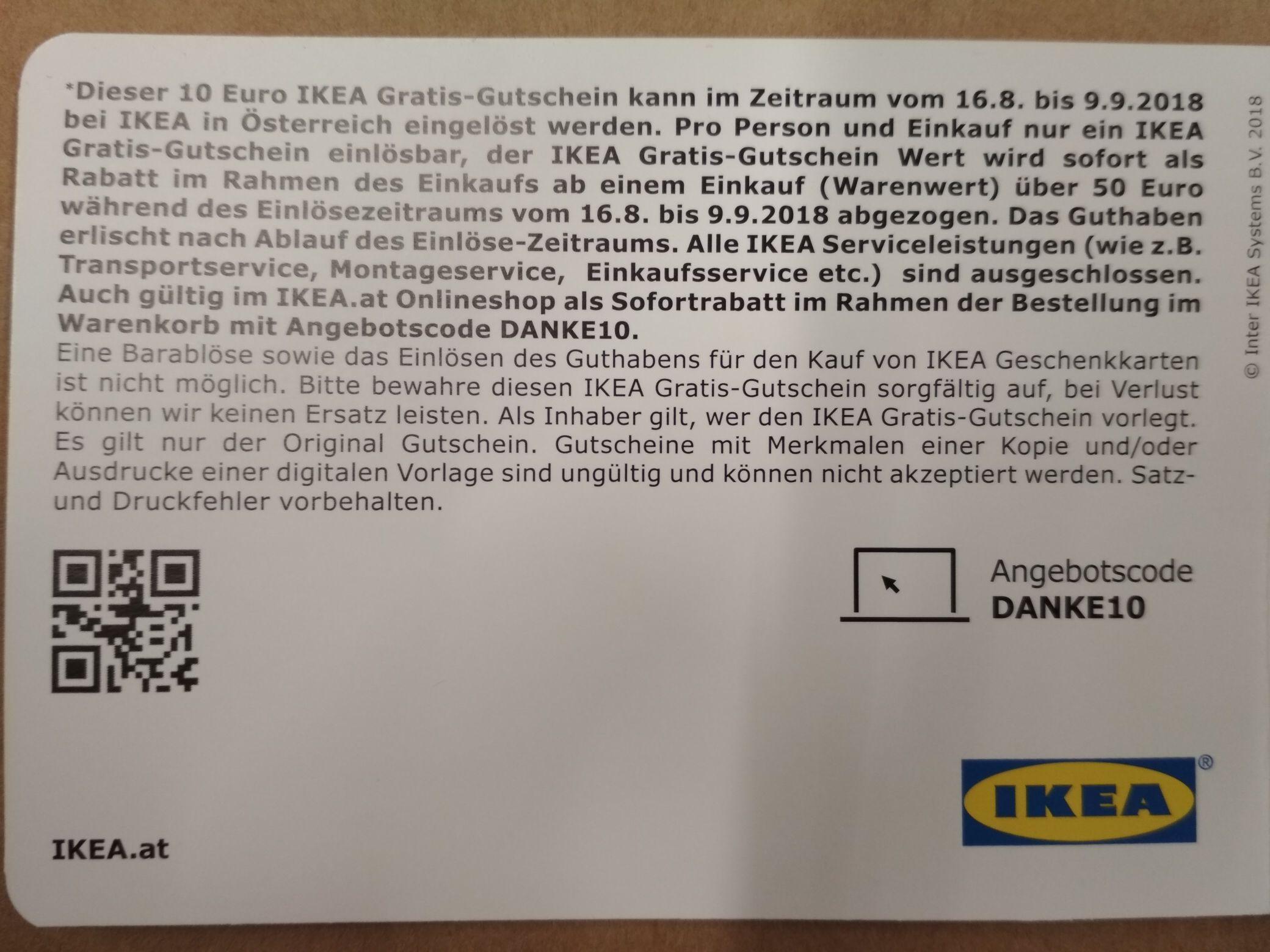 IKEA 10,- Gutschein bei Einkauf von 50,-