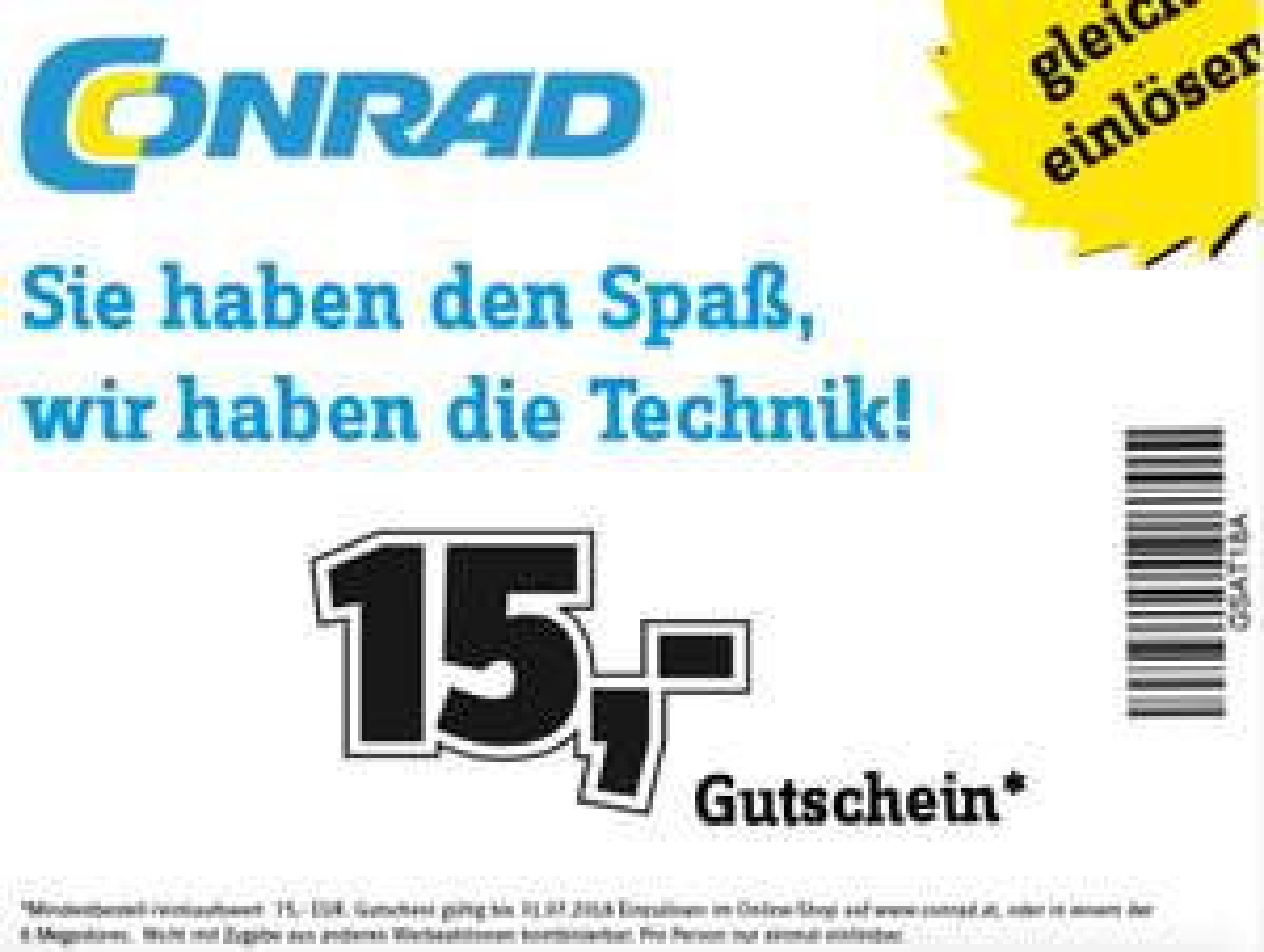 Conrad: 15 € Sofort-Rabatt ab 75 € - bis 31.7.2018