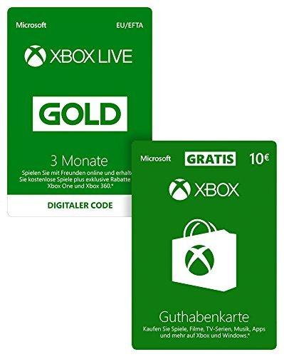 Xbox Live Gold Mitgliedschaft 3 Monate + 10 EUR Guthaben für 19,99€
