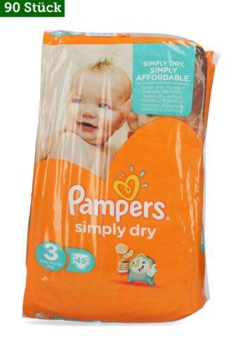 Pampers Windeln Simply Dry Gr. 3; 90 Stk (eine Windel 11 Cent)