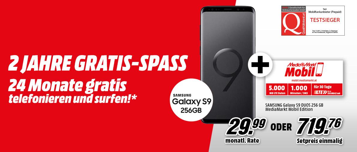 Samsung Galaxy S9 256GB + Mediamarkt/Saturn Mobil Tarif gratis dazu
