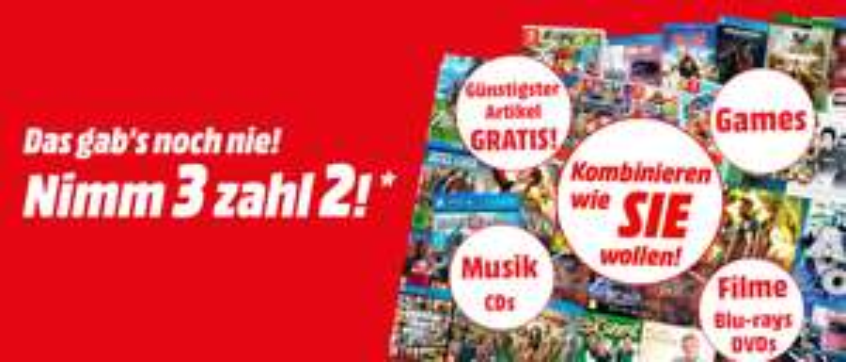 [Mediamarkt] Multibuy-Aktion. Nimm 3-Zahl 2 für alle *Lagernde* CDs,Blu-Rays und Games