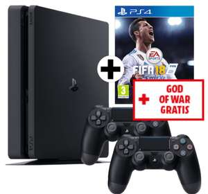 PlayStation 4 Slim (1TB) + 2x Controller + FIFA 18 + God of War