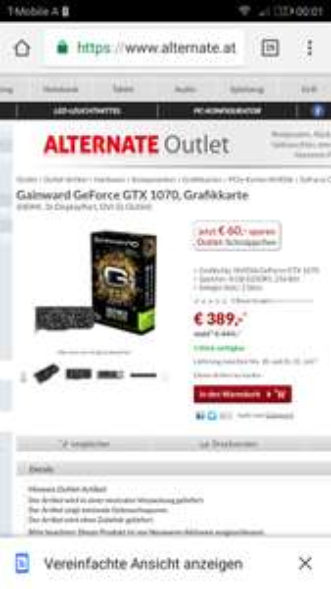 GTX 1070 um 389 Bestpreis - Gebrauchtware/B-Ware