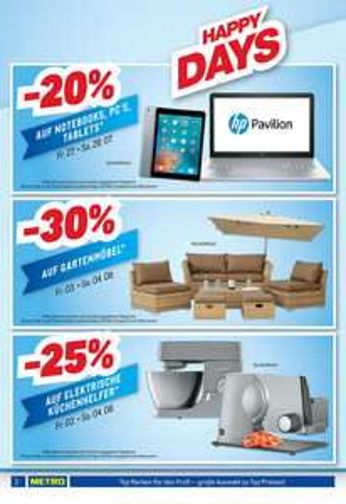 -20% auf Notebooks, PC's, Tablets - Happy Days Metro