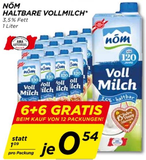 [Penny] NÖM Haltbarmilch 6 + 6 gratis - 54c / Pkg.