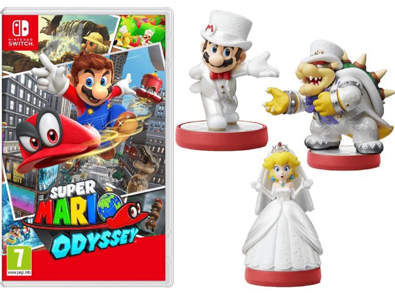 Super Mario Odyssey (Switch) +  amiibo Figuren 3er-Pack Super Mario Collection Odyssey für 45€