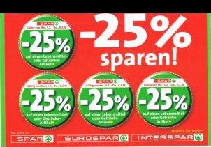 Spar / Interspar / Eurospar / Spar Gourmet -25% Rabatt auf 4 Artikel je Einkauf von Do 9.8. bis Di 14.8.