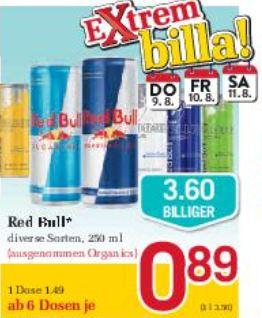BILLA Red Bull div. Sorten von Do 09.08. bis Sa 11.08.