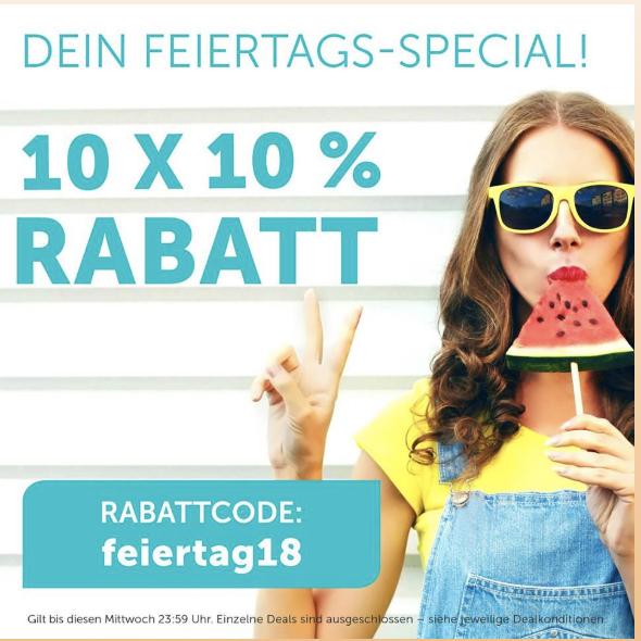 DailyDeal: 10x 10% Sofort-Rabatt auf Alles - nur am 15.8.2018