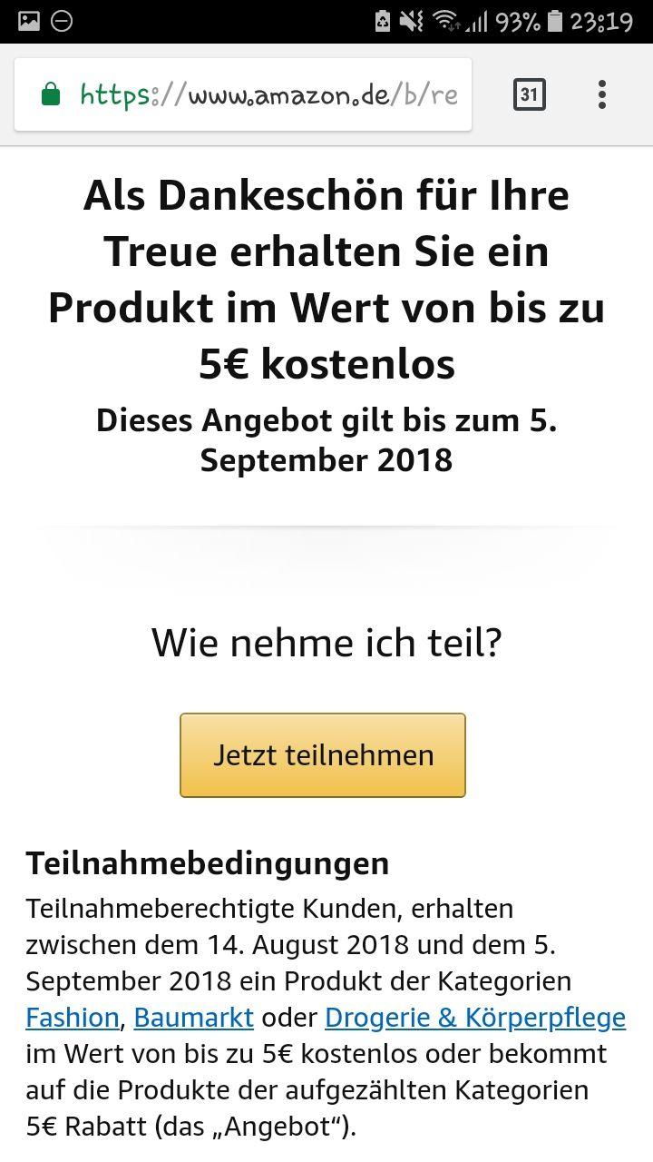 Amazon: 5€ geschenkt