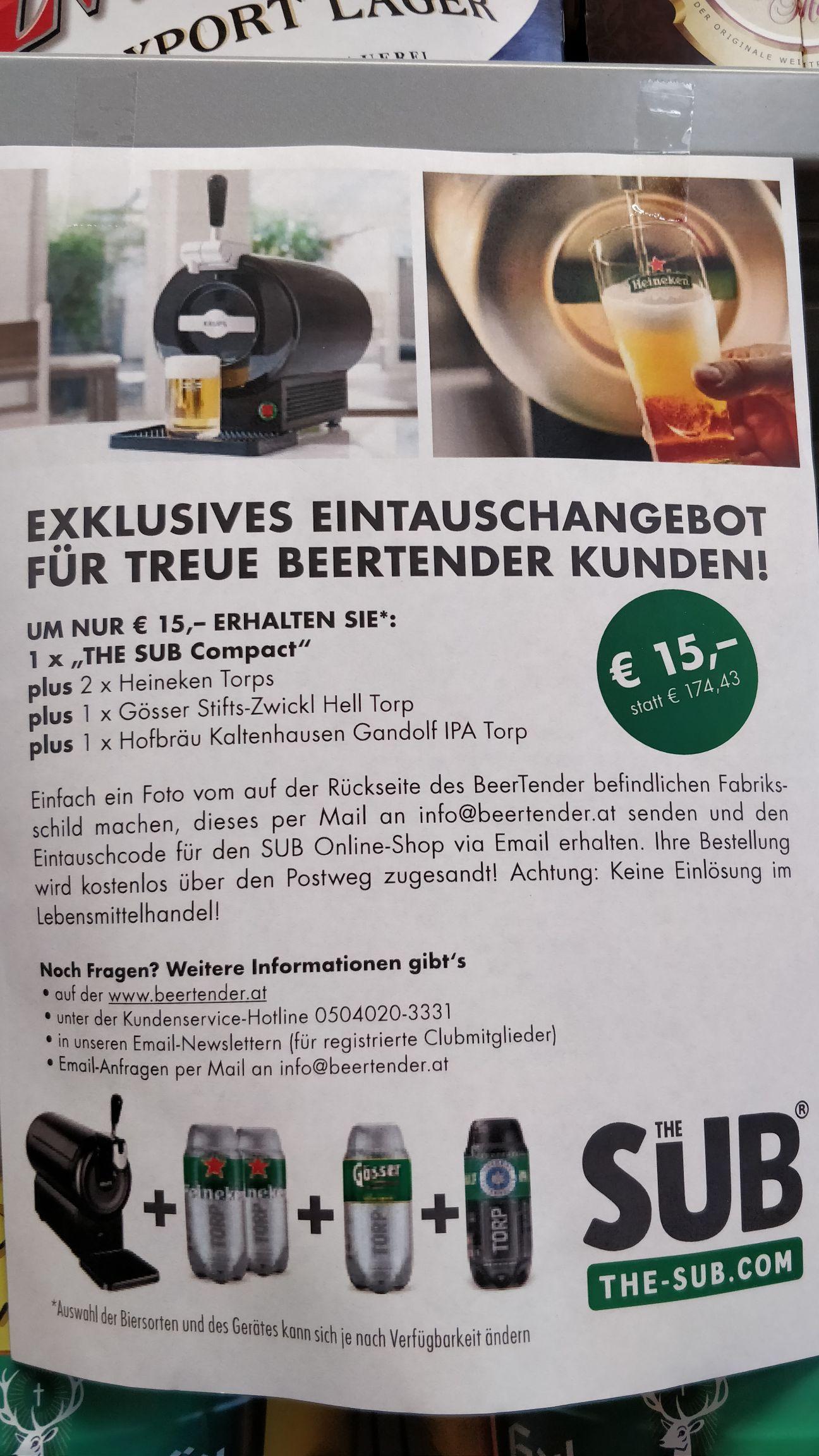 Beertender Eintauschaktion - um 15 euro den neuen The Sub erhalten