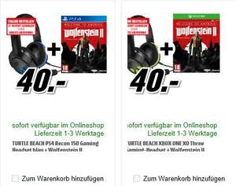 [Mediamarkt] Turtle Beach Recon 150 Gaming Headset - PS4, PS4 Pro and PC oder Turtle Beach XO Three Gaming-Headset - Xbox One jeweils Inc. Wolfenstein-Welcome to Amerika um 40,-€