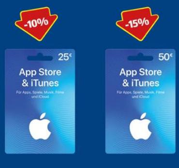 Hofer: 15% Rabatt auf 50 €iTunes / 10% Rabatt auf 25 € iTunes Karten