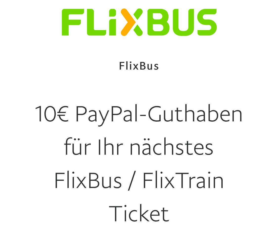 PayPal: 10 € Sofort-Rabatt auf FlixBus + FlixTrain (OHNE Mindestbestellwert)