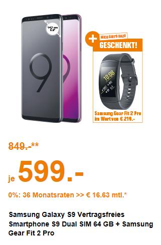 (Saturn Wien Donauzentrum,Haid & Salzburg,) Samsung Galaxy S9 64gb + Samsung Gear Fit 2 Pro um 599€