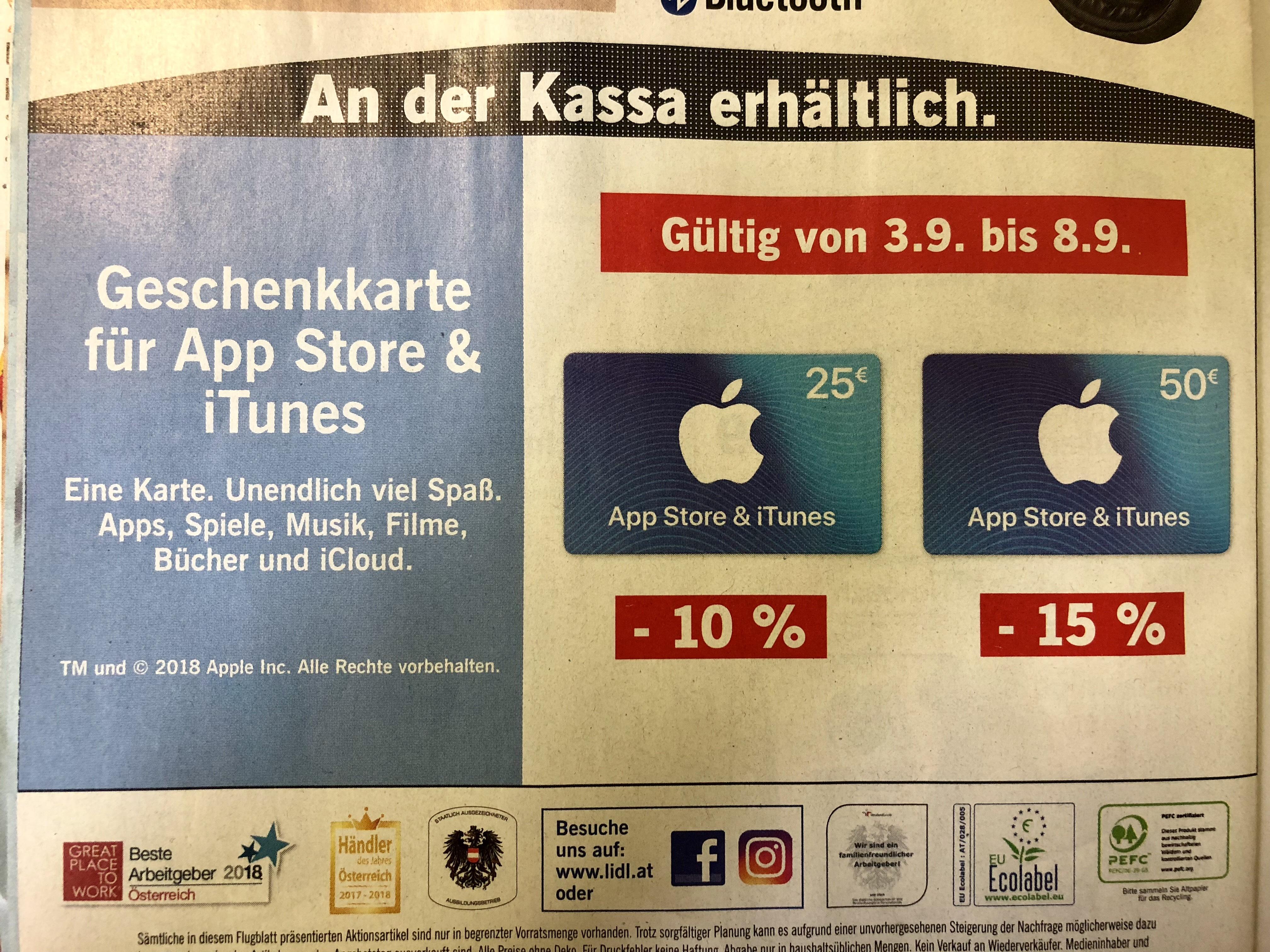 App Store & iTunes Geschenkarten -10% auf den 25€ Bon bzw. -15% auf den 50€ Bon