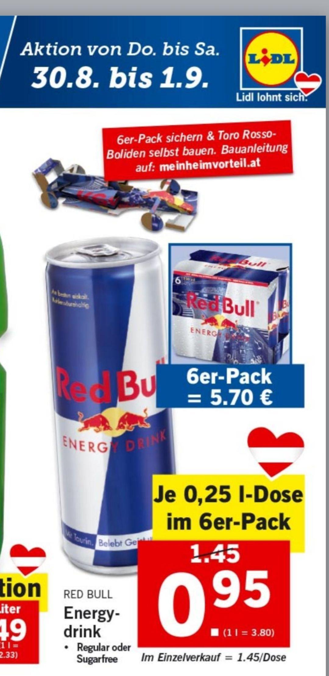 Red Bull im 6er-Pack um nur 0.95 pro Dose