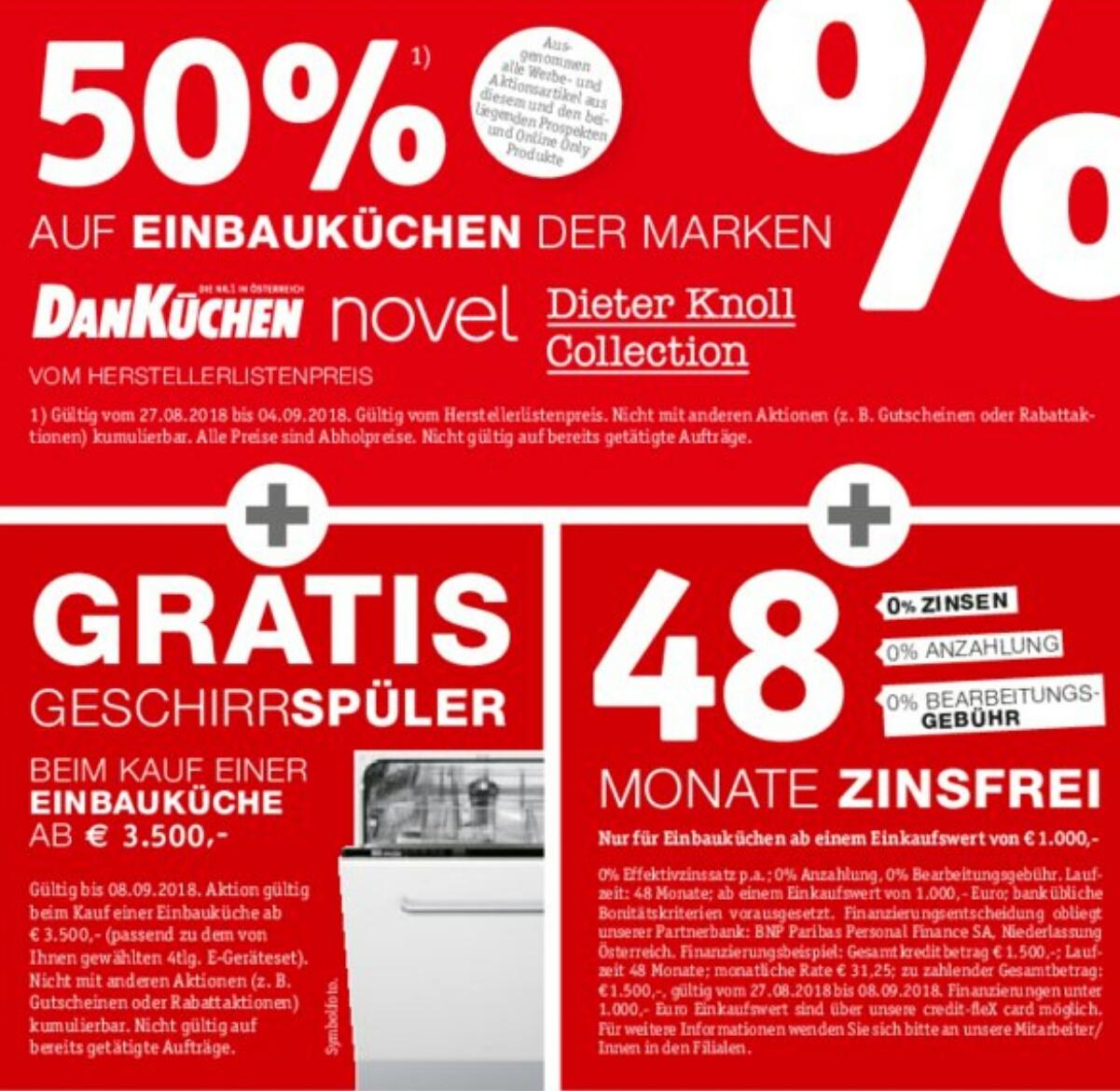 XXX Lutz -50% auf Einbauküchen der Marken Danküchen/ novel / Dieter Knoll Collection + Gratis Geschirrspüler*