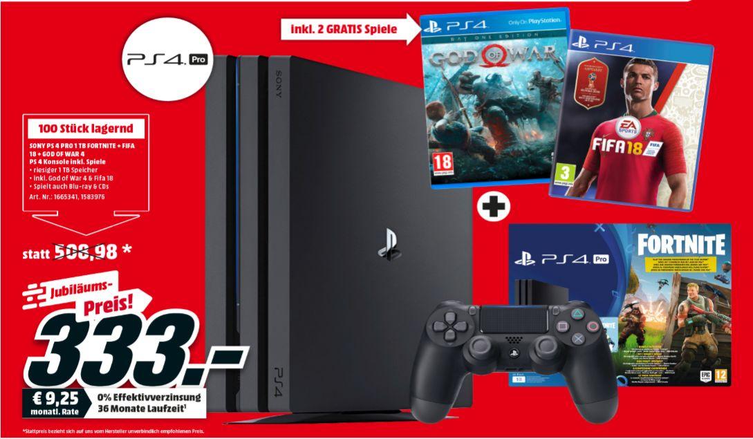 [Regional Mediamarkt Innsbruck und Imst ab 30.08] Sony PlayStation 4 (PS4) Pro 1TB + Fortnite + Royale-Bomber-Outfit + FIFA 18 und God of War um 333,-€