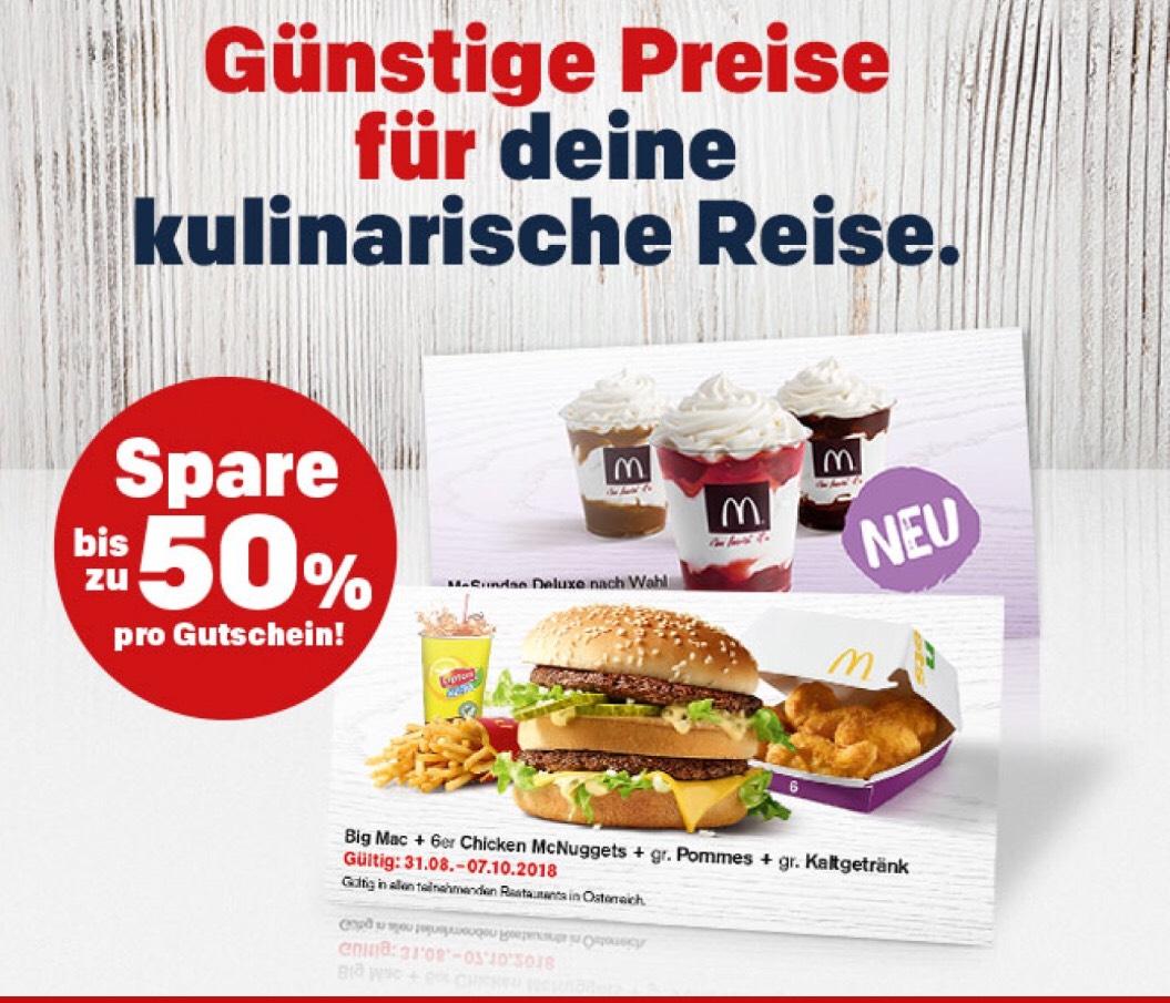 McDonald's Bonusbuch Gutscheine bis zum 7.10.2018