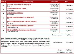 """Eine Bestellung """"Ramsch"""" für 7€ (enthält Batterien, Fotoalbum, Becher, Taschenlampe)"""