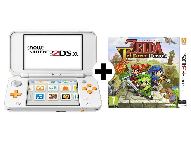 NINTENDO New 2DS XL (Weiß/Orange) + The Legend Of Zelda Tri Force Heroes für 111€