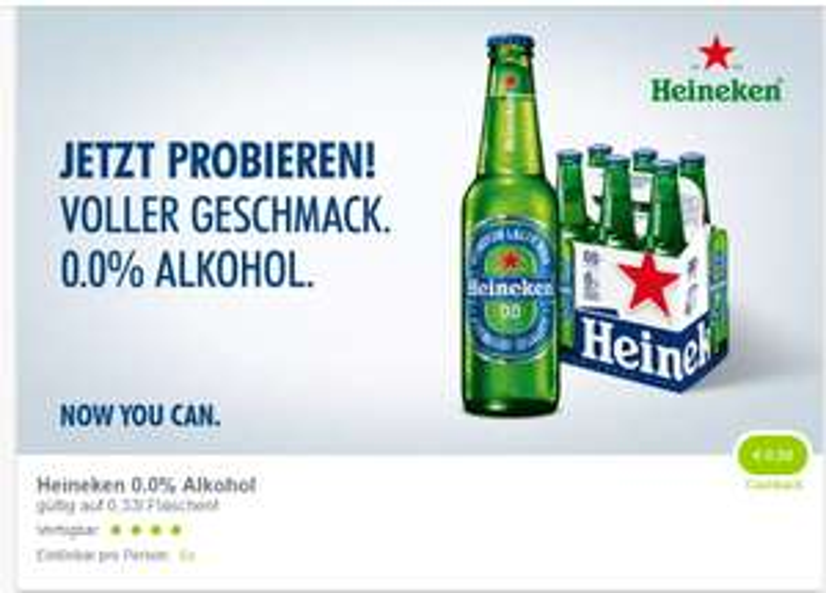 Heineken alkoholfrei bei MERKUR (marktguru Cashback &-25% auf Bier)