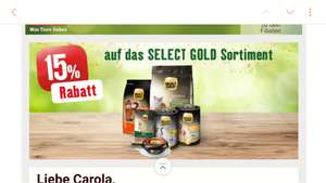 Fressnapf: - 15 % auf Select Gold (12.-18.9.)