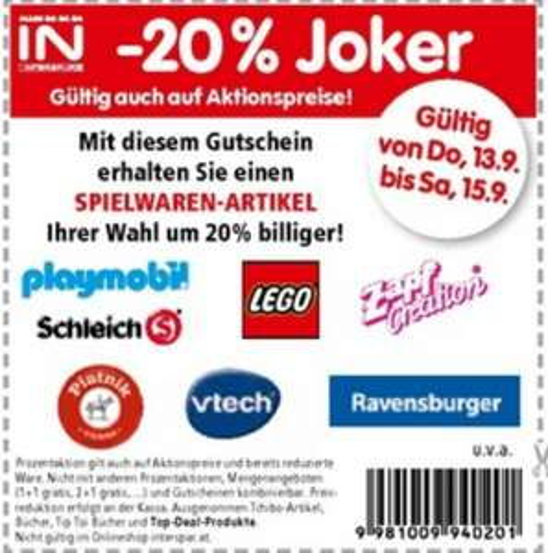 [INTERSPAR] -20% auf einen Spielwaren Artikel wie LEGO, Playmobil, Ravensburger, usw.