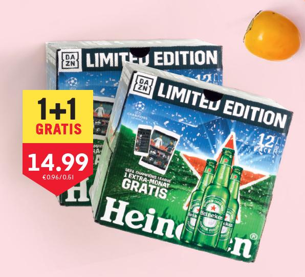 Auch für Bestandskunden: 1 Monat DAZN gratis beim Kauf eines 12er-Packs Heineken